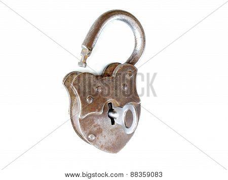 Lock Key Vintage Open Metal Isolated
