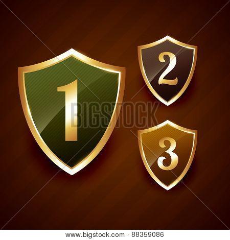 golden ranking label badge vector design elements