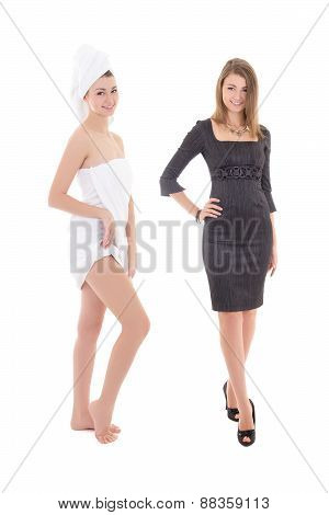 Morning, After Shower Concept - Young Slim Woman In Towel And Dress Isolated On White