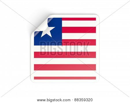 Square Sticker With Flag Of Liberia