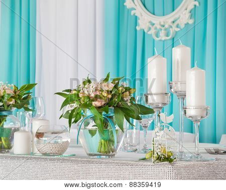 Beautiful Decorations On  Wedding Table For Bride And Groom.