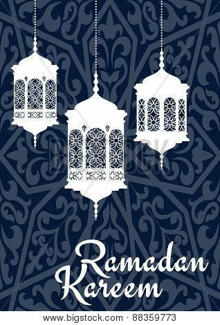 Ramadan Kareem greeting card with oriental lanterns