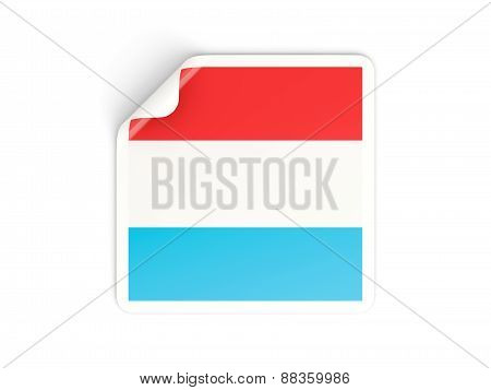 Square Sticker With Flag Of Luxembourg