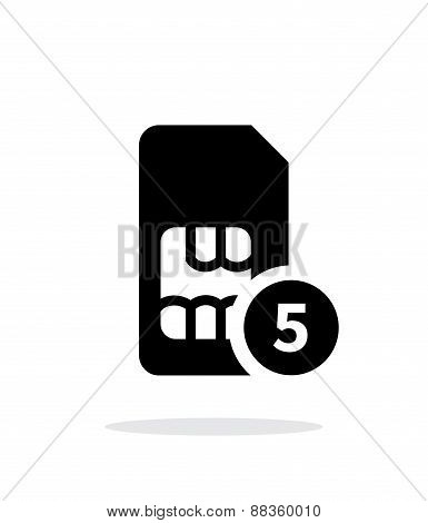 SIM card with number simple icon on white background.