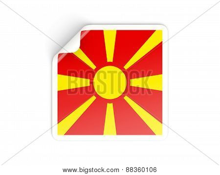 Square Sticker With Flag Of Macedonia