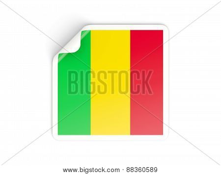 Square Sticker With Flag Of Mali