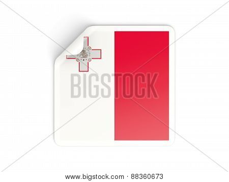 Square Sticker With Flag Of Malta