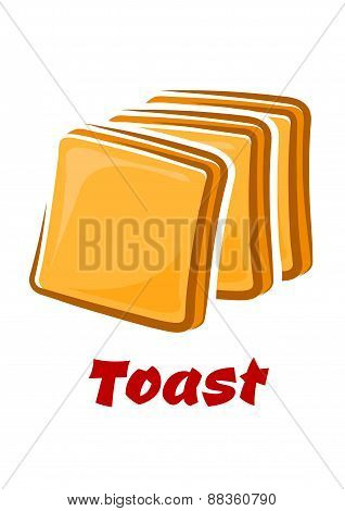 Cartoon toasted bread slices isolated on white