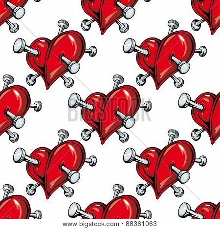 Cartoon nailed red hearts seamless pattern