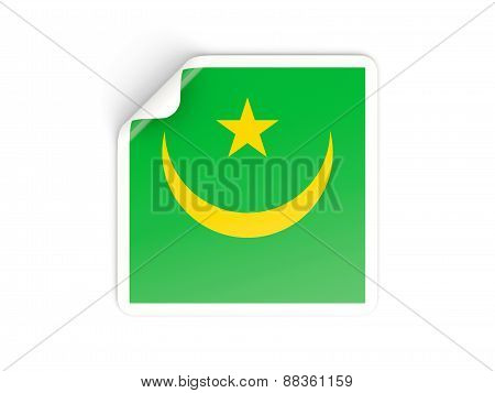 Square Sticker With Flag Of Mauritania