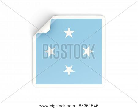 Square Sticker With Flag Of Micronesia