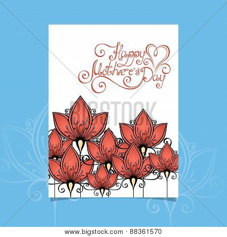Vector Happy Mothers's Day Greering Card With Flowers