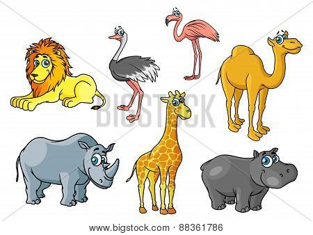 Cartoon african wild animals and birds characters