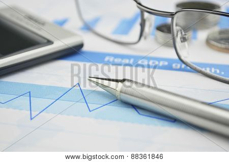 Gasses Pen And Calculator On Financial Chart And Graph