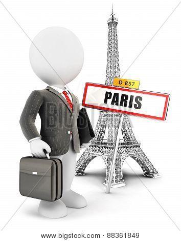 3d white people businessman in Paris
