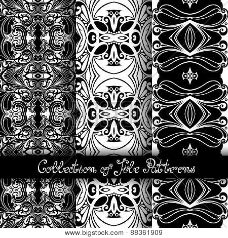 Set Of 3 Seamless Vintage Patterns (vector)