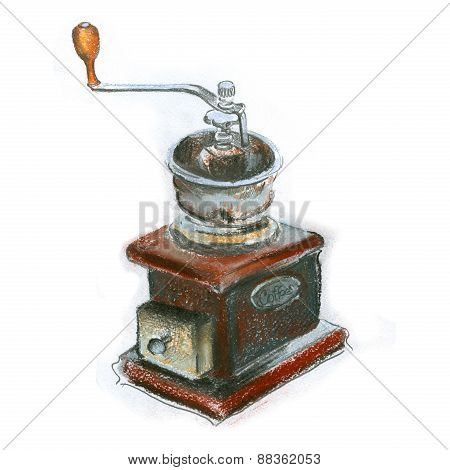 retro coffee grinder on white background