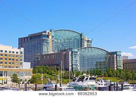 A waterfront of National Harbor in summer Maryland USA.