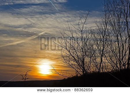 Sunset over the Allegheny Mountain Range in West Virginia USA.