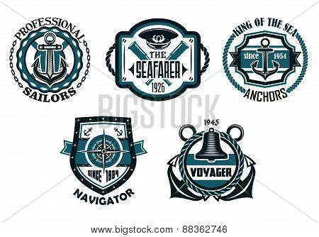 Nautical retro blue emblems with maritime symbols