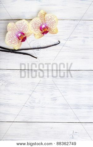 Vanilla Pods And Orchid Flowers On Wooden Background. Copy Space.