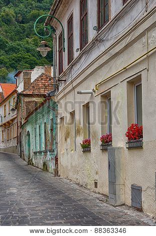 Old street in Brasov, Romania.