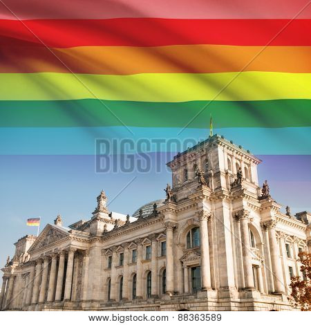 Reichstag (bundestag) Building In Berlin With Flag On Background - Lgbt People