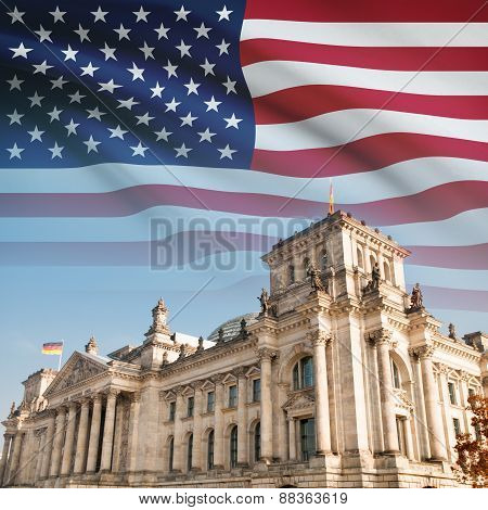 Reichstag (bundestag) Building In Berlin With Flag On Background - Usa