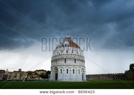 The Baptistery Of The Cathedral In Pisa, Italy