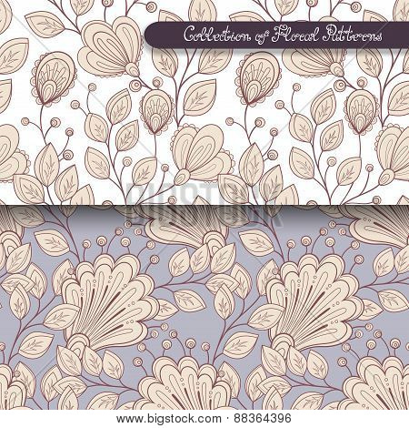 Seamless Floral Patterns (vector)