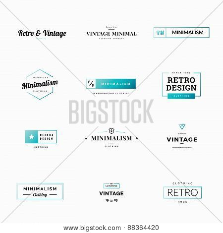 Twelve minimal retro and vintage logo vectors for shops