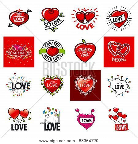 Big Set Of Vector Logos Heart