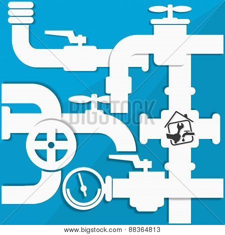 Water pipes and taps vector