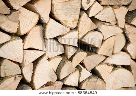 Dry chopped firewood logs