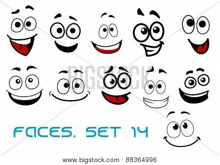 Cartoon faces with happiness and joyful expressions