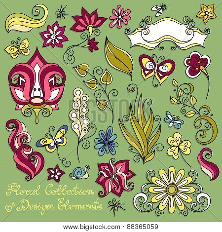 Vector Floral Collection Of Hand Drawn Design Elements