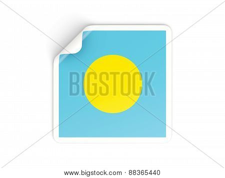 Square Sticker With Flag Of Palau