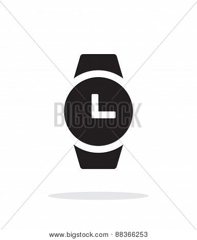 Time on round smart watch simple icon on white background.