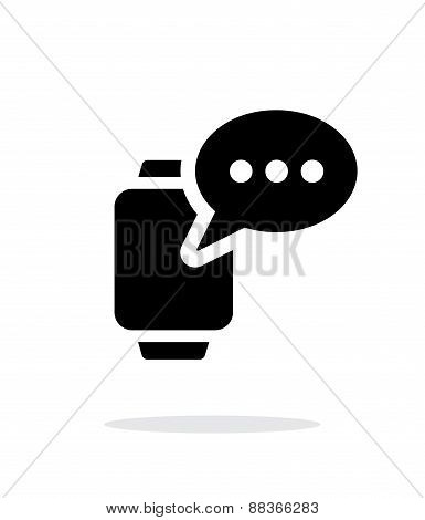 Message on smart watch simple icon on white background.