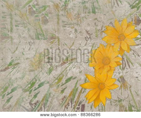 Abstract Vintage Texture With Yellow Daisies