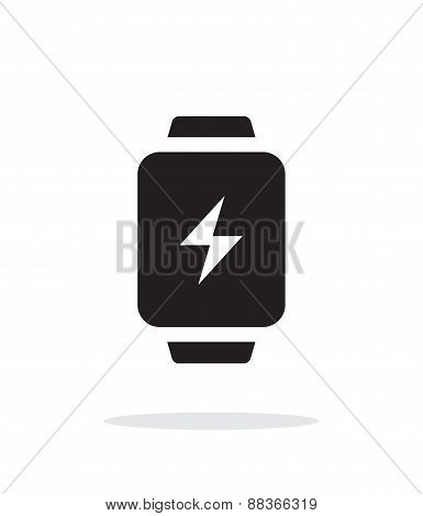 Charge sign in smart watch simple icon on white background.