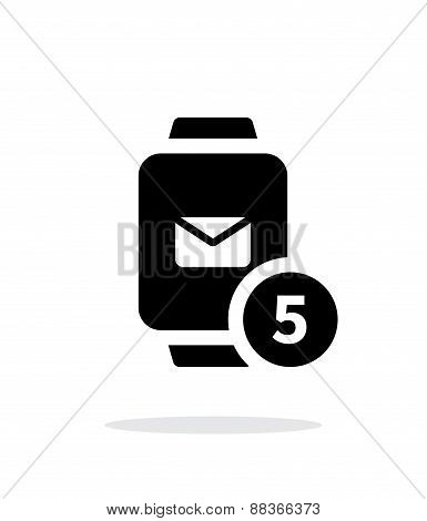 Mail notification on smart watches simple icon on white background.