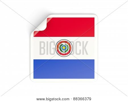Square Sticker With Flag Of Paraguay