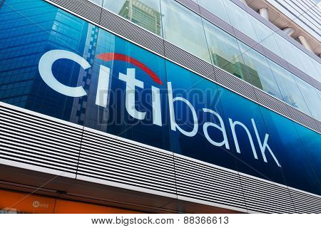 Citibank sign and logo in Mongkok, Hong Kong