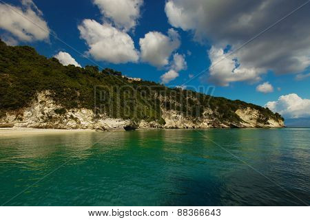Blue caves along the shore of Zakynthos island, Greece