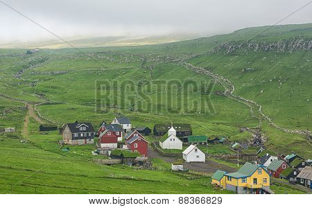 Mykines, typical village in Faroe islands.