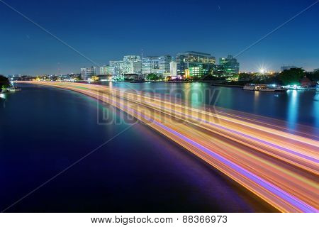 Light Of Boat Running In River Painting Beautiful Light In Chao Phraya River With Sirirach Hospital