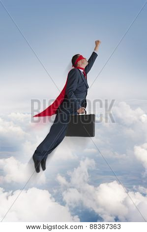 Superhero Businessman Flying Upwards