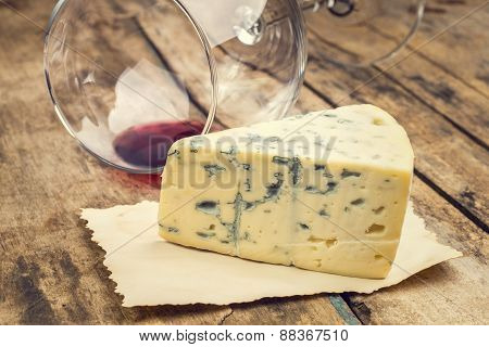 Blue Cheese With Wine Glass