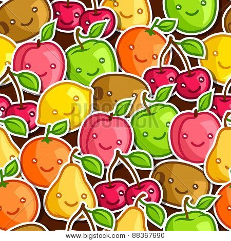 Seamless pattern with cute kawaii smiling fruits stickers